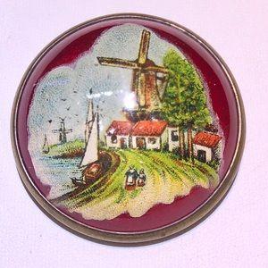 Antique glass dome horse bridle rosette pin